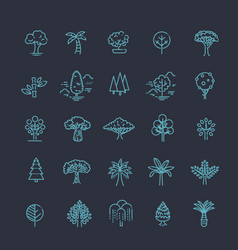 set of tree shape line icons vector image vector image