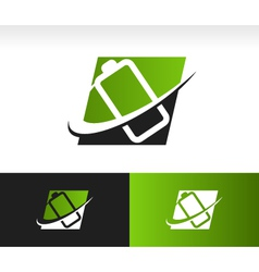 Swoosh battery logo icon vector