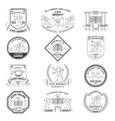 University labels set vector