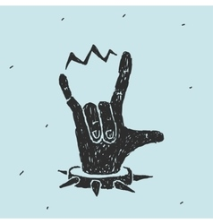 The hand symbol heavy metal vector