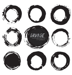 Set of round grunge shapes vector