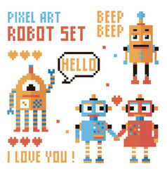 Set of pixel robots words hearts vector