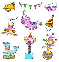 doodle circus various object vector image