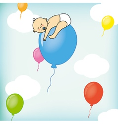 A child sleeps on a balloon vector image