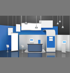 Exposition stand mockup composition vector