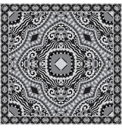 Black and white ornamental floral paisley bandanna vector