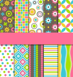 Set of 10 seamless bright fun abstract patterns vector