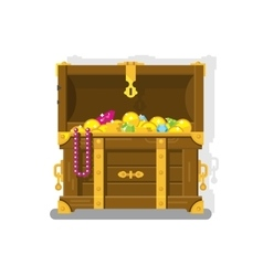 Treasure chest with gold coins vector