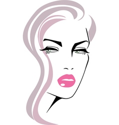 Beautiful girl face pink lips vector