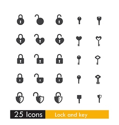 Set of 25 icon key and lock isolated on white vector
