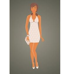 Fashion glamor girl in dress - vector