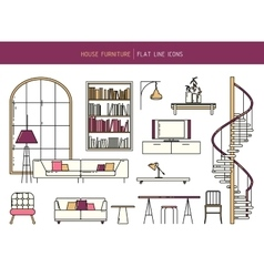 Flat line furniture set vector
