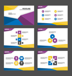 Blue purple yellow presentation templates layout vector