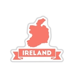 Paper sticker on white background ireland map vector