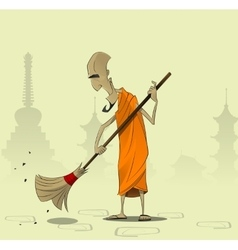 Elderly buddhist monk sweeps the courtyard of the vector