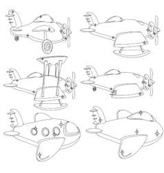 A Set of Different Planes Contour vector image