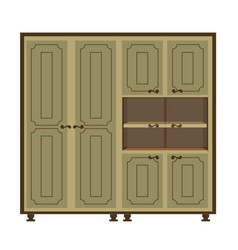Antique wardrobe with doors and shelves isolated vector