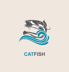 catfish and wave icon vector image