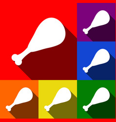Chicken leg sign set of icons with flat vector
