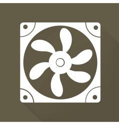 Computer cooling fan icon vector