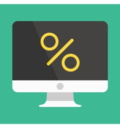Computer Display and Percent Sign Icon vector image
