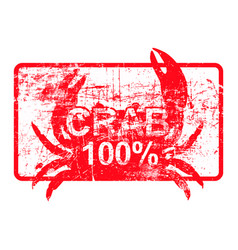 crab 100 percent - red rubber dirty grungy stamp vector image vector image