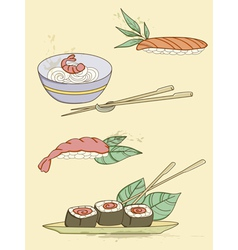 drawn seafood icons vector image