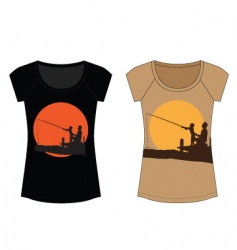 Fishing woman t shirt vector