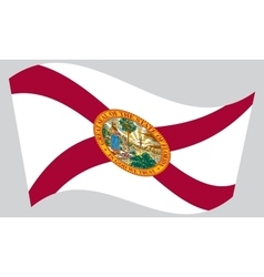 Flag of Florida waving on gray background vector image vector image