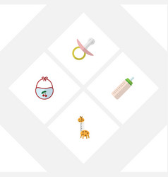Flat kid set of pinafore feeder toy and other vector