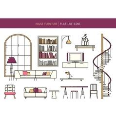 Flat line furniture set vector