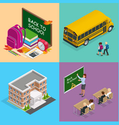 four isometric web concepts a school board vector image vector image