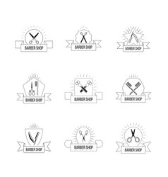 hairdresser logo set with vintage scissors hair vector image