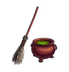 Halloween symbols - witch cauldron with boiling vector