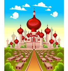 Landscape with arabian castle vector