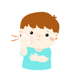 Little boy having toothache cartoon vector