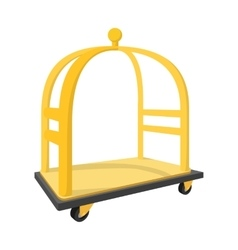 Luggage trolley cartoon icon vector