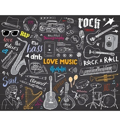 Music Instruments Set Hand Drawn Sketch On vector image vector image