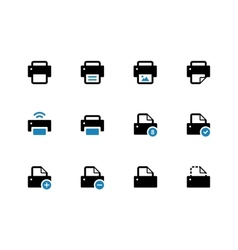 Printer duotone icons on white background vector