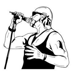 Rock man with a microphone vector