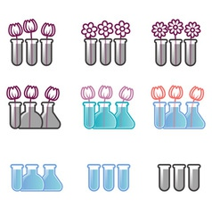 Set of icons test tubes and flowers vector image vector image