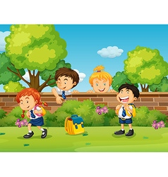 Students in uniform skipping school vector image