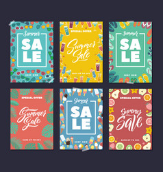 summer sale colorful fashion banners set with vector image vector image