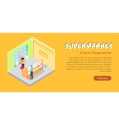 Supermarket cheese department web banner vector
