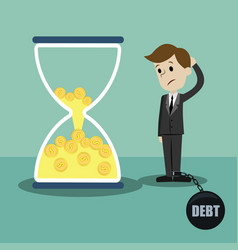 time is money money in sandglass businessman vector image