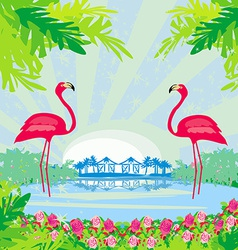 with green palms and pink flamingo vector image vector image