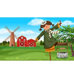 Scarecrow in the farm field vector