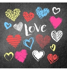 Grunge Valentine hearts with lettering vector image