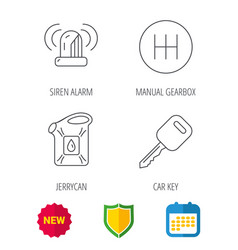 manual gearbox jerrycan and car key icons vector image