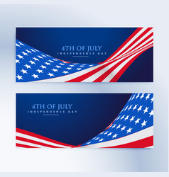 American flag 4th of july banners vector